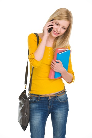 Happy student girl talking cell phone Stock Photo - 18204745