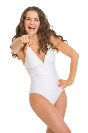 Portrait of young woman in swimsuit pointing in camera Stock Photo - 18625006