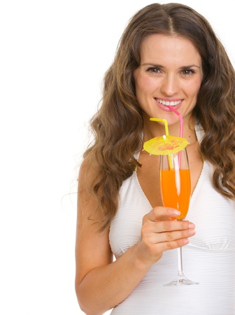 Smiling young woman in swimsuit drinking cocktail Stock Photo - 18624936