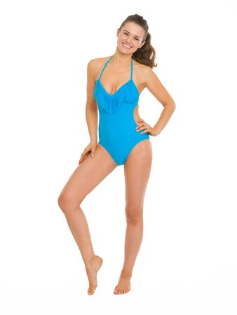 Full length portrait of happy young woman in swimsuit Stock Photo - 18625130