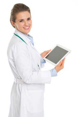 topicality: Happy medical doctor woman with tablet pc