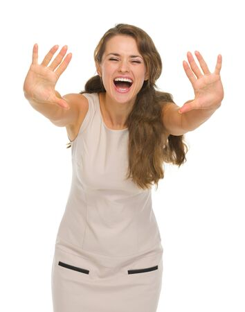 Happy young woman with hands stretched forward