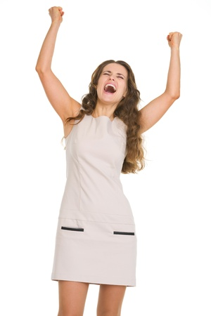 Portrait of happy young woman rejoicing success Stock Photo - 18788157