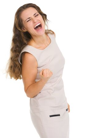 Portrait of happy young woman rejoicing success photo