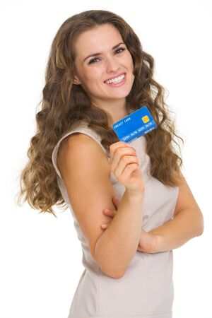 service card: Portrait of happy young woman holding credit card
