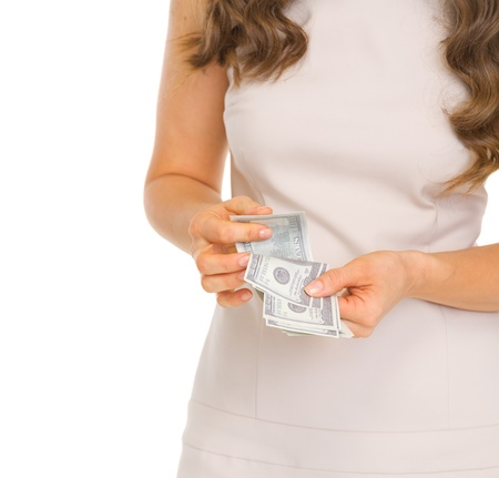 Closeup on woman counting dollars Stock Photo - 18788104