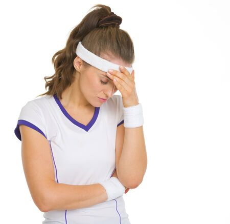 disquieted: Portrait of concerned female tennis player