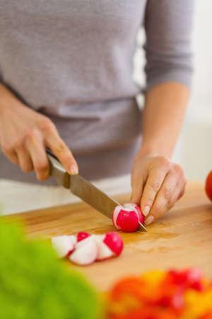 Closeup on woman cutting radishes Stock Photo - 19093518