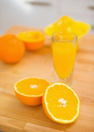 Closeup on cutted orange on cutting board Stock Photo - 19113358