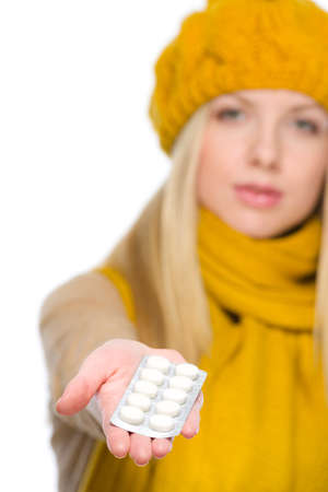 Closeup on girl holding pills pack Stock Photo - 19226695