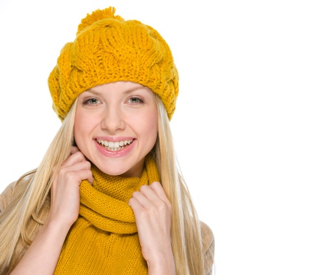 Portrait of happy girl in autumn clothes Stock Photo - 19226699