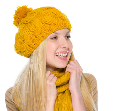 Portrait of smiling girl in autumn clothes looking on copy space Stock Photo - 19226701