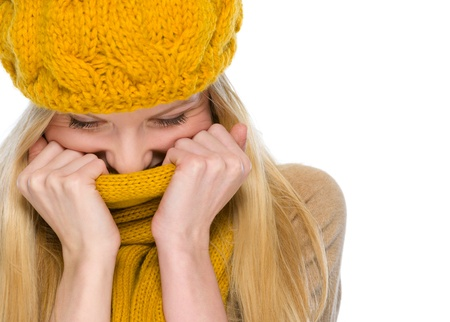 Portrait of happy girl in autumn clothes wrap up in scarf Stock Photo - 19226723