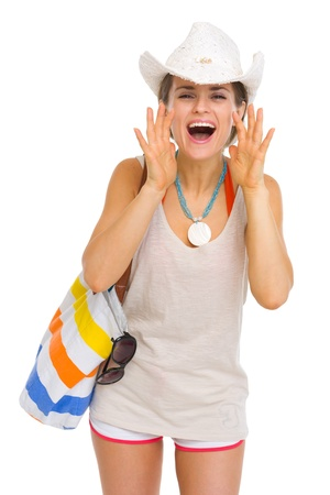 Happy beach young woman shouting through megaphone shaped hands Stock Photo - 19339986