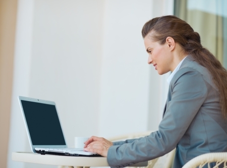 Happy business woman working with laptop on terrace Stock Photo - 19406678