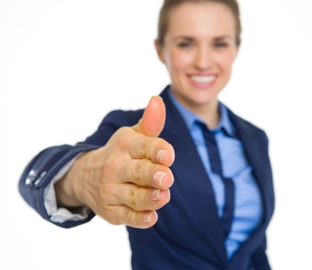 Closeup on happy business woman stretching hand for handshake Stock Photo - 19614218