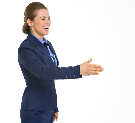 Smiling business woman stretching hand for handshake Stock Photo - 19614213