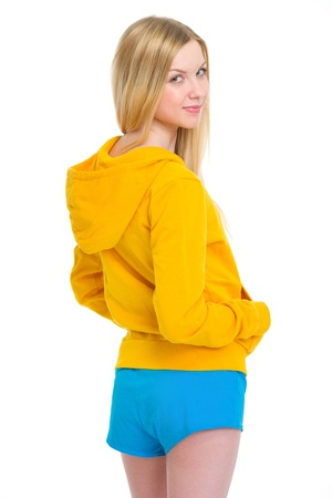 Portrait of happy teenager girl looking back Stock Photo