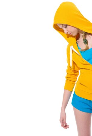 youthfulness: Closeup on modern teenager girl in sweater with draped hood Stock Photo