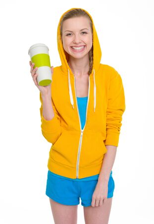 Happy teenager girl holding coffee cup Stock Photo - 19614305
