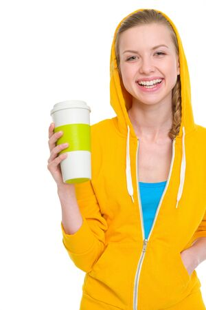 Portrait of happy teenager girl holding coffee cup Stock Photo - 19614376