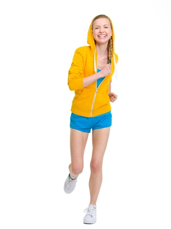 sudadera: Feliz chica adolescente corriendo