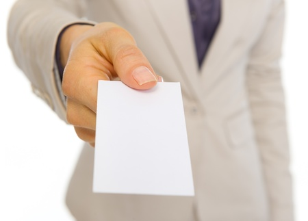 Closeup on business woman giving business card Stock Photo - 19727713