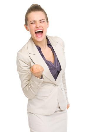 fist pump: Happy business woman fist pump