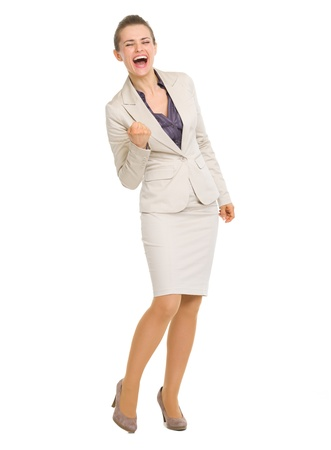 fist pump: Full length portrait of business woman fist pump