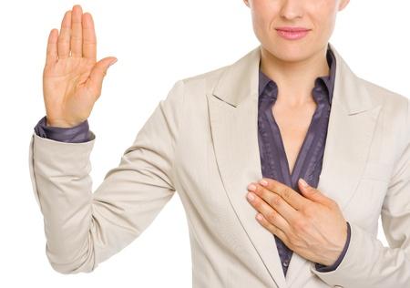 oath: Closeup on business woman oath truth Stock Photo