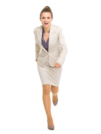 Full length portrait of running business woman photo