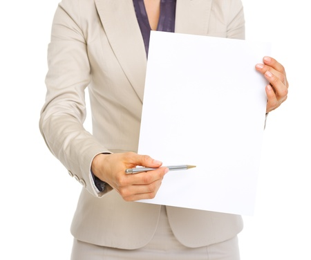Closeup on business woman giving document for sign Stock Photo - 19727625