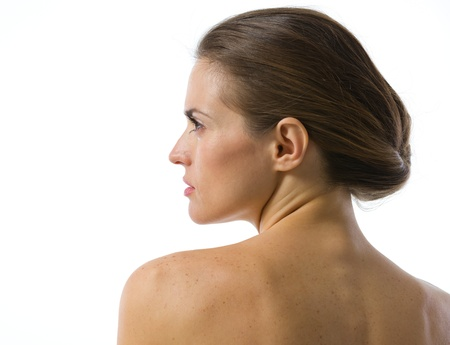 Beauty portrait of young woman looking on copy space . rear view Stock Photo - 19848789