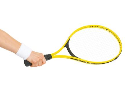 raqueta de tenis: Primer en la mano con la raqueta de tenis