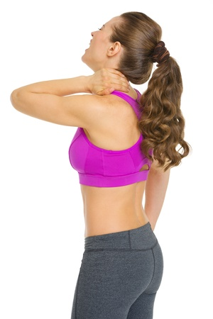 Fitness young woman with neck pain Stock Photo - 20356497