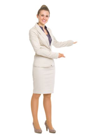 Happy business woman inviting to come Stock Photo