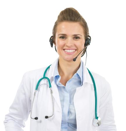 Portrait of happy doctor woman in headset Stock Photo - 20467216