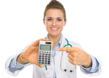Closeup on doctor woman pointing on calculator Stock Photo - 20443832