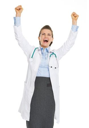 rejoicing: Happy doctor woman rejoicing success Stock Photo