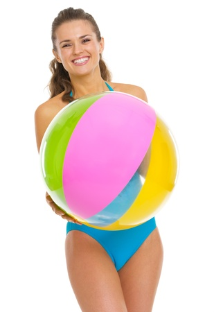 Smiling young woman in swimsuit with beach ball Stock Photo - 20542746