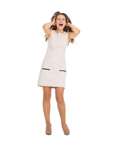 Full length portrait of stressed young woman Stock Photo - 20671572