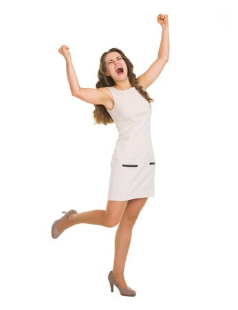 Full length portrait of happy young woman rejoicing success Stock Photo - 20671575