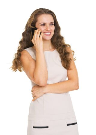 Happy young woman talking mobile phone Stock Photo - 20671412