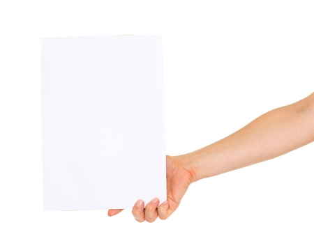 Closeup on hand showing blank paper Stock Photo - 20671425