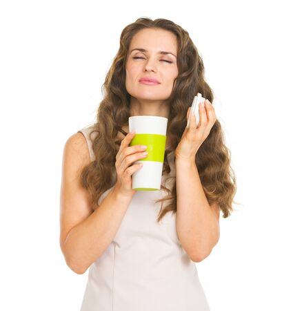 Young woman enjoying cup of hot beverage Stock Photo - 20857130