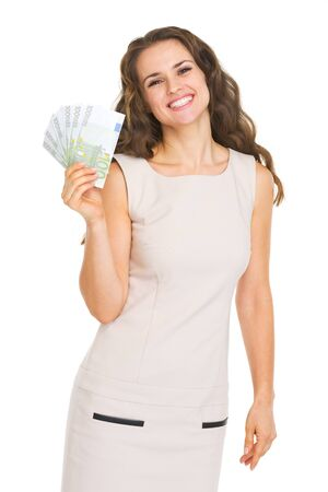 Happy young woman showing euros Stock Photo - 20850071