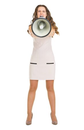 Angry young woman shouting through megaphone Stock Photo - 20850259