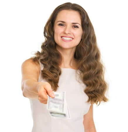Happy young woman giving dollars Stock Photo - 20857180