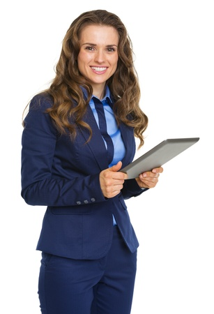 Smiling business woman using tablet pc Stock Photo - 21250298
