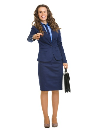 Full length portrait of smiling business woman with briefcase stretching hand for handshake Stock Photo - 21250397